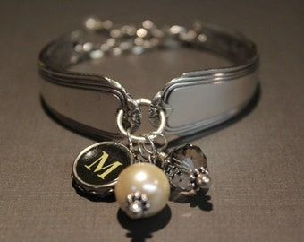Vintage Flatware and Typewriter Key Bracelet