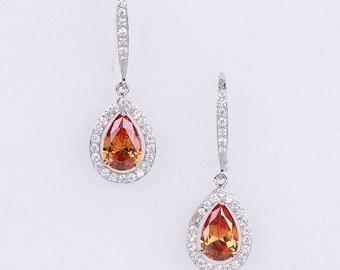 Orange Wedding Earrings Zirconia Earrings Wedding Jewelry Bridesmaid Earrings Bridesmaid Accessories Dangling Teardrop Earrings stl151