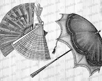 VICTORIAN French Lady Fan and Umbrella Digital Collage Clipart Graphics - Antique Printable Graphics - Instant Digital Download Image.