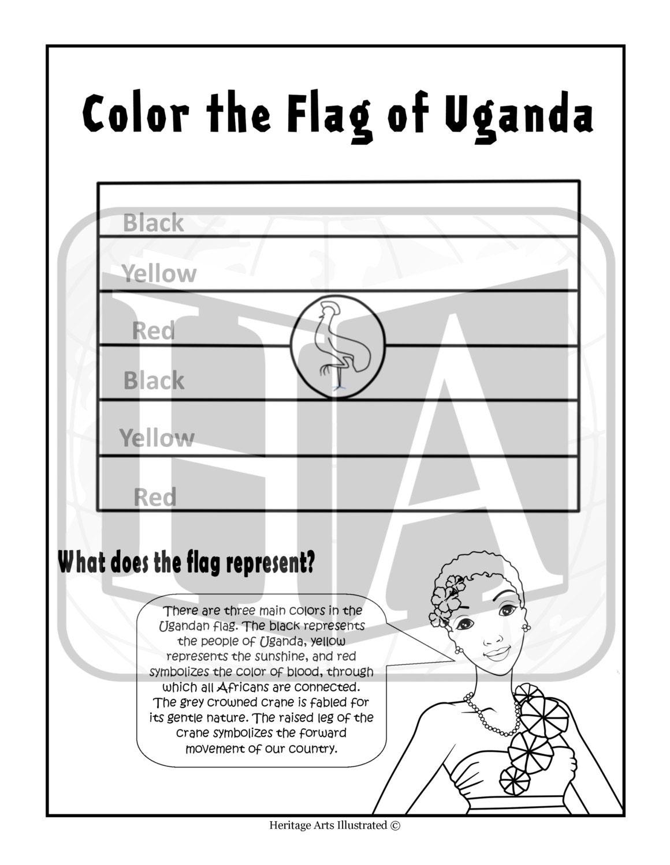 Ugandan Flag Coloring Page 1 Flag of Uganda Color...