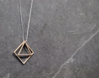 Necklace with 2 polygon pendants
