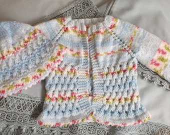 12 - 18 months cardigan and hat pattern trellis
