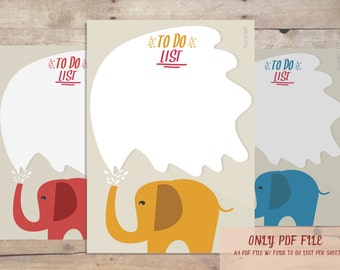 To Do List,  Elephant To Do List, Printable To Do List, Cute To Do List, PDF File