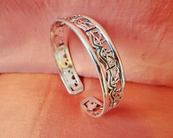 Amazing Vintage Egyptian Solid Sterling Silver Bracelet of Ancient EYE OF HORUS...Stamped
