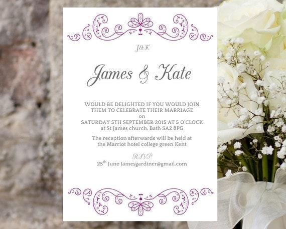 wedding invite template elegant swirls purple download
