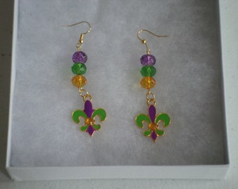 Fleur De Lis Beaded Earrings