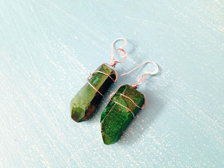 green wire wrapped gemstone earrings