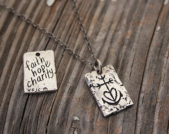 Faith, Hope, and Charity Pendant, Visible Faith, Sterling Silver Jewelry, Christian, Handmade