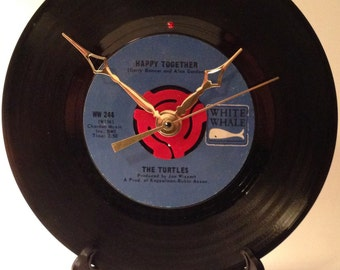 """Recycled THE TURTLES 7"""" Record • Happy Together • Record Clock"""