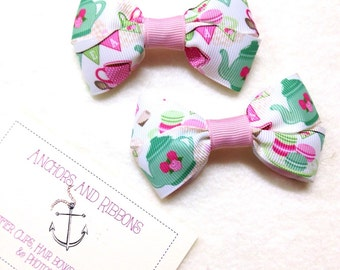 Tea Party - Set of TWO Hair Bows / Barrettes / Clips!