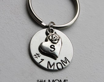 "Personalized ""#1 MOM"" Keychain.  Mother's Day Keychain.  Mom Keychain. Personalized Keychain. Best Mom, Rose and heart keycahin, Mother, mom"