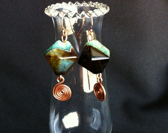 Black, Brown and Green Agate Earrings with Copper Swirls