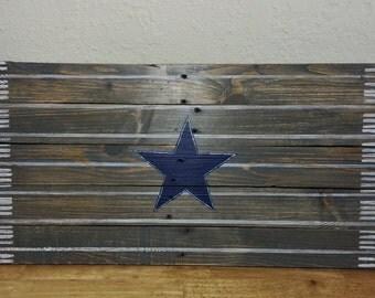Custom Reclaimed Pallet Wood Sign Team Midfield Logo Dallas Cowboys Football