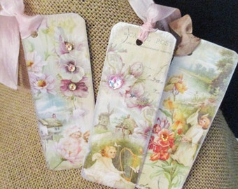 Fairies Bookmarks, Vintage Clever Little Set of 3/Heavyweight Cardstock/Scrapbooking/Writing/Reading/Reference Material