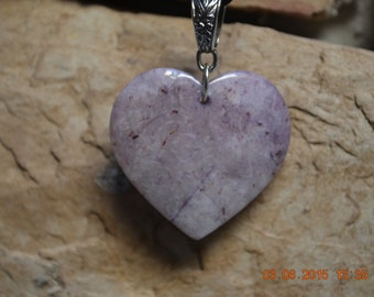 Purple Crazy Lace Agate Heart Pendant Necklace