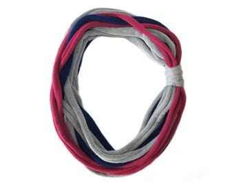 Fuchsia Blue Grey Scarf, Fabric Necklace, Soft Scarf, Recycled Sweater, Scarf Sweater, Gift, Fabric Jewelry, Winter Scarf, Refashioned