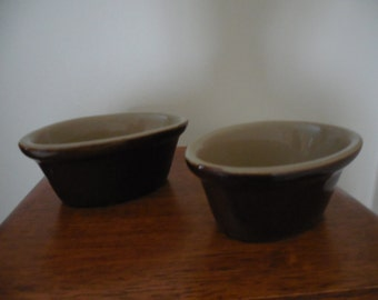 Vintage Pearson of Chesterfield Small Brown Glaze Oval Bowls - Set of 2