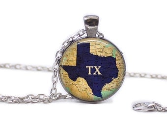 Texas Necklace Map Jewelry Travel Necklace