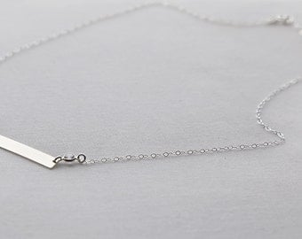 Bar Necklace with a CZ Link, Personalized Bar Necklace, Customized Jewelry, Layering Necklace,  Dainty Jewelry, Simple Jewelry