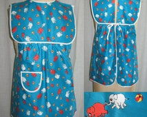 VINTAGE 1960's Girls Pinafore Apron Cute Elephant Print NWOT Suits 2-4 Years