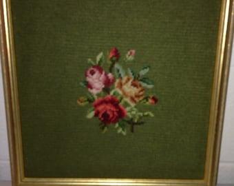 Vintage framed needlepoint