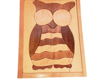 Hand Made Wooden Owl Puzzle Great for Kids