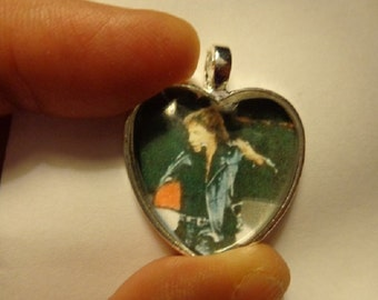 Barry Manilow Black Leather Heart Photo Necklace