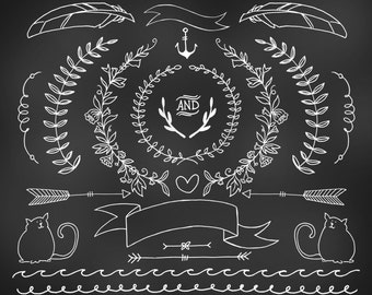 Hand drawn Chalkboard clipart - floral rustic design elements - banners & wreaths - wedding clipart - babyshower clipart - logo elements