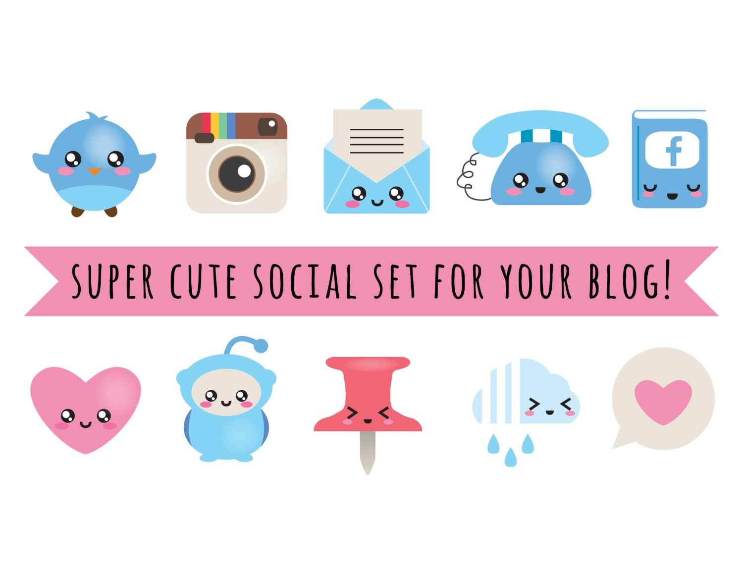 Blog Design Kit , vector files , blog social kit , blog buttons, web buttons , social media icons , kawaii , cute blog design elements