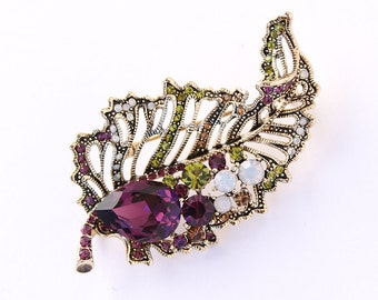 Leaf Brooch, Purple Leaf Broach, Gold, Green, Leaves, Brooches, Jewelry, DIY Project Craft Jewelry Embellishment