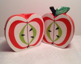 Vintage Salt and Pepper Apple 1960 Red Apple Mid century kitsch whimsical
