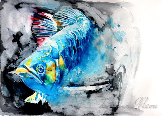 Items similar to feng shui arowana fish watercolor print for Arowana tank decoration