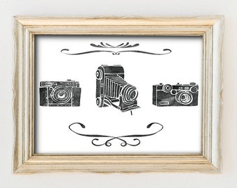 Photography Calligraphy Art, Printable Camera Art, Printable Art, Vintage Camera Art, P28