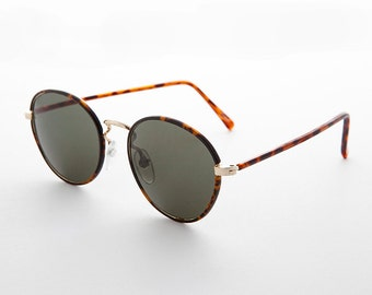 Vintage Preppy Polo Style Round Sunglasses with Windsor Tube Temples - Woody