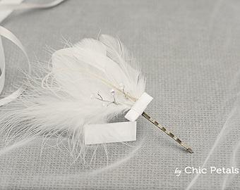 Bridal headpiece, Bridal crystals hairpin, Bridesmaid headpiece, Bridesmaids feather hair accessories, Wedding hair accessorie.