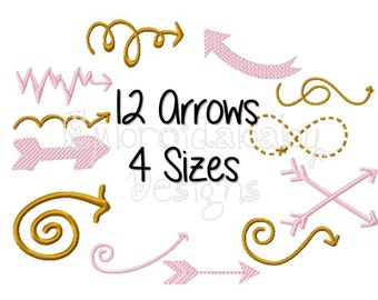 12 Arrows Machine Embroidery Design, 4 Sizes, Golden Arrow Pattern Applique Design, Bow and Arrow, Arrow Onesie Embroidery