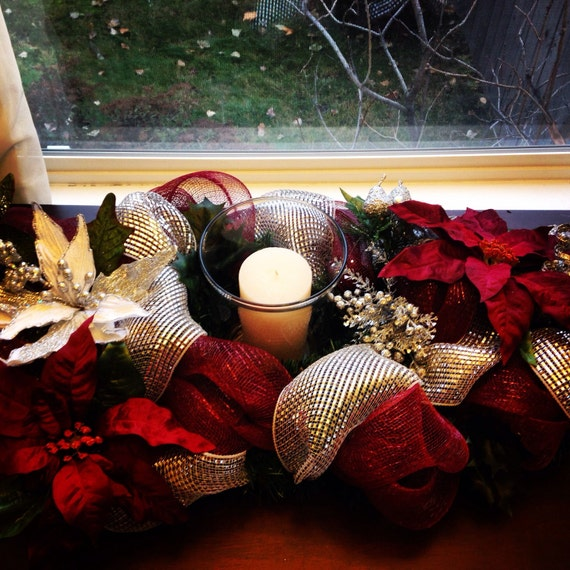 Items similar to christmas deco mesh centerpiece on etsy