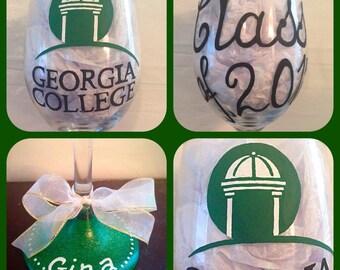 Graduation Wine Glass Hand Painted ~ Graduation Presents ~ Custom Painted Graduation Glass ~ Class of 2016 Graduates ~ Gifts for Grads