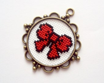 cross stitch pendand - red bow