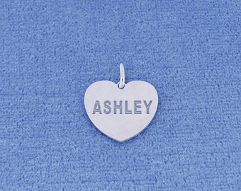 Personalized Small Sterling Silver Deep Laser Engraved Name Heart Disc Charm Pendant Necklace SC22