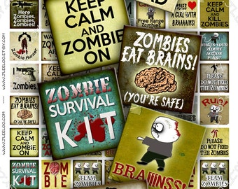 Digital collage ZOMBIES 1x1 inch square - printable apocalypse scary walking dead - for pendants magnet stickers - instant download - qu259