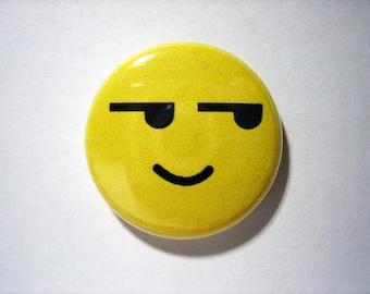 "Emoji pin - Shifty Eyes - 1"" pin-on button"