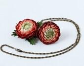 Reserve for Michael. Crochet flower set, russet set, crochet pendant, crochet ring, flower pendant, flower ring, russet flower