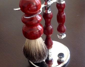 Handmade gentlemen's shaving set- Padauk Wood