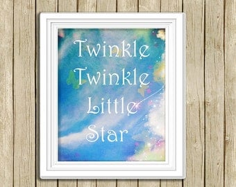 Twinkle Twinkle nursery rhyme printable wall art blue sky quote instant download 8 x 10 inspirational baby child art print home decor