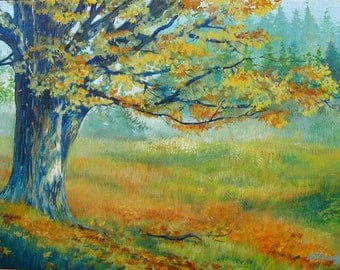 Maple Tree Against a Meadow - A Tree with a View - Original Acrylic Painting