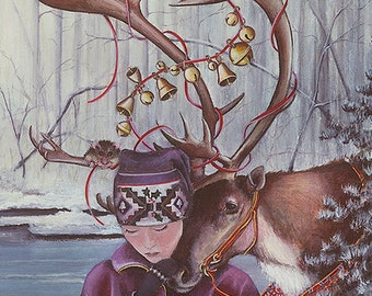 Christmas Card, Holiday Card, Greeted Christmas Card, Wintersong, Reindeer