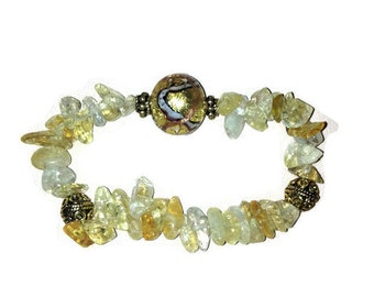 2 stacking bracelets: Venetian glass bead with Citrine chips and Citrine chunks