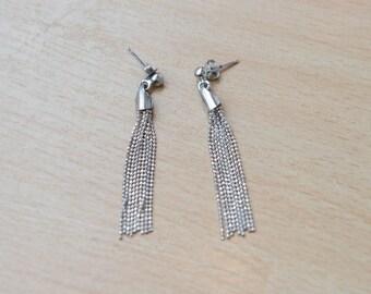 Vintage Sterling Silver Diamond Cut Tassel Earrings