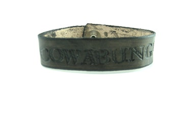 Cowabunga Leather bracelet Mens Leather Cuff Large Mens Bracelet, Fandom Bracelet